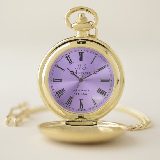 Lawyer / Attorney luxury lilac chrome-look Pocket Watch