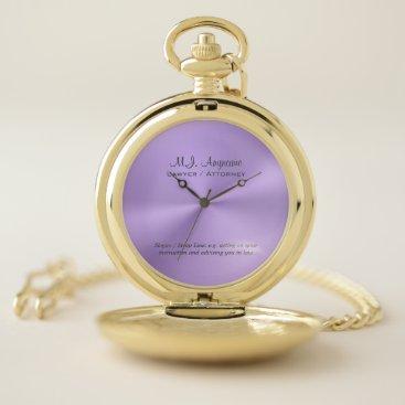 Lawyer Themed Lawyer / Attorney luxury lilac chrome-look Pocket Watch