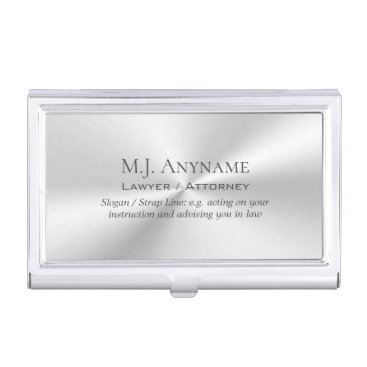 Lawyer Themed Lawyer / Attorney luxury polished silver effect Case For Business Cards