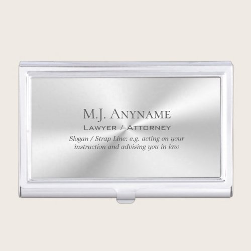 Lawyer / Attorney luxury polished silver effect Case For Business Cards