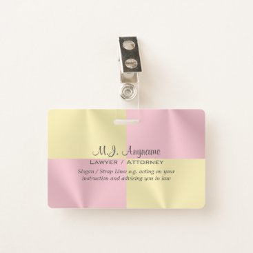 Lawyer Themed Lawyer / Attorney luxury rose pink battenburg-look Badge