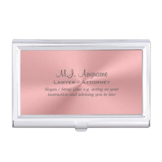 Lawyer / Attorney luxury rose pink chrome-look Business Card Holder