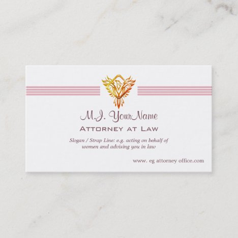 Lawyer / Attorney luxury stripes and flame phoenix Business Card