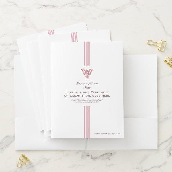 Lawyer / Attorney luxury stripes and pink phoenix Pocket Folder
