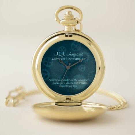 Lawyer / Attorney luxury teal chrome-look Pocket Watch