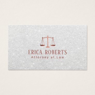 Lawyer Themed Lawyer Attorney Modern Rose Gold Scale Silver Business Card