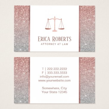 Lawyer Themed Lawyer Attorney Modern Rose Gold & Silver Glitter Business Card