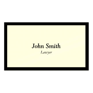 Lawyer Attorney Simple Plain Black Border Double-Sided Standard Business Cards (Pack Of 100)