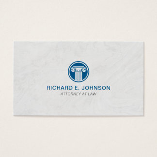Lawyer Blue Pillar Marble Background Business Card
