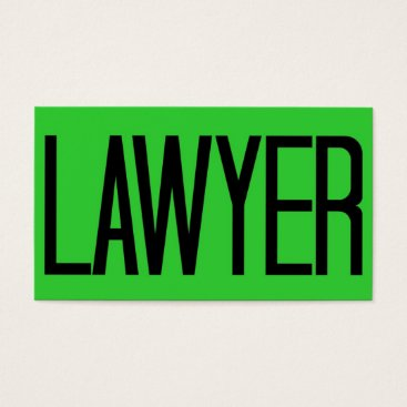 Lawyer Themed Lawyer Bold Florescent Green Business Card