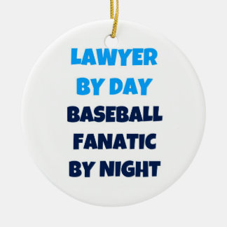 Lawyer by Day Baseball Fanatic by Night Double-Sided Ceramic Round Christmas Ornament