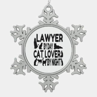 Lawyer Cat Lover Snowflake Pewter Christmas Ornament