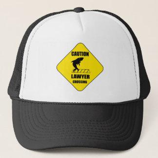 Lawyer Crossing with Shark Trucker Hat