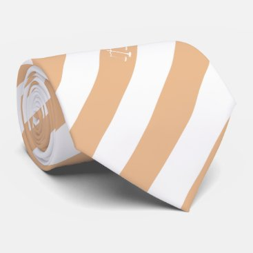 Lawyer Themed Lawyer Custom Initials Beige Stripes Justice Scale Neck Tie