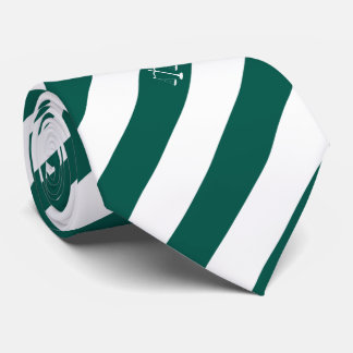 Lawyer Custom Initials Green Stripes Justice Scale Neck Tie