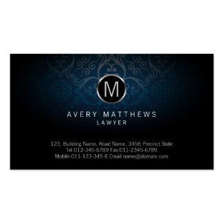 Lawyer Elegant Cicle Monogram Dark Blue Damask Double-Sided Standard Business Cards (Pack Of 100)