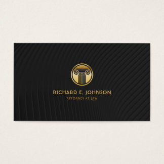 Lawyer Gold Look Pillar Icon Professional Black Business Card