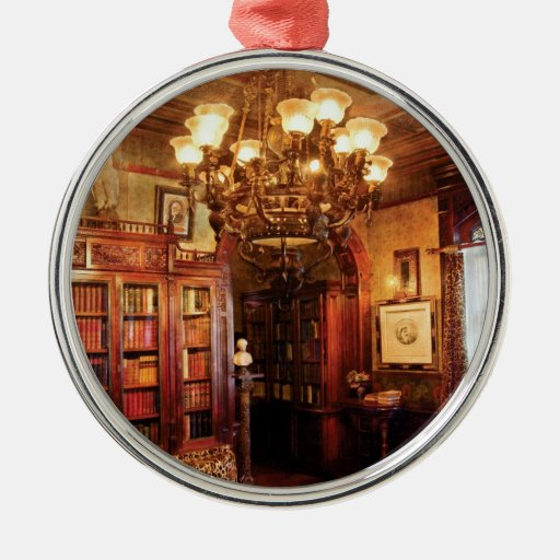 Lawyer - In the Library Round Metal Christmas Ornament