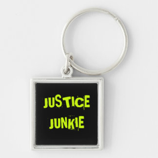 Lawyer Judge Attorney Nickname - Justice Junkie Silver-Colored Square Keychain