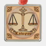 Lawyer Justice Scales Square Metal Christmas Ornament