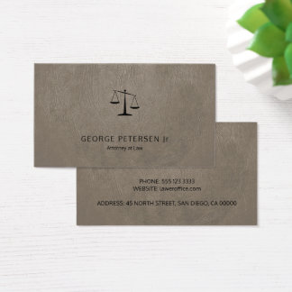 Lawyer luxury black scale taupe grey leather look business card