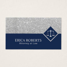 Lawyer Modern Navy Blue & Silver Attorney At Law Business Card at Zazzle