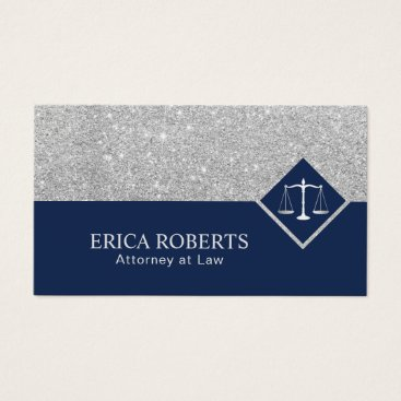 Lawyer Themed Lawyer Modern Navy Blue & Silver Attorney at Law Business Card