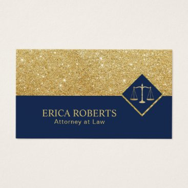 Lawyer Themed Lawyer Modern Navy & Gold Glitter Attorney at Law Business Card