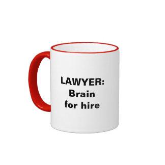 Lawyer Mug: Brain for hire Ringer Coffee Mug