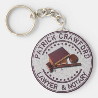 Lawyer Or Notary Office With Judge Hammer And Name Keychain