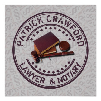 Lawyer Or Notary Office With Judge Hammer And Name Poster