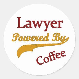 Lawyer Powered  By Coffee Classic Round Sticker