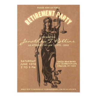 Lawyer Retirement Party Invitation | Lady Justice