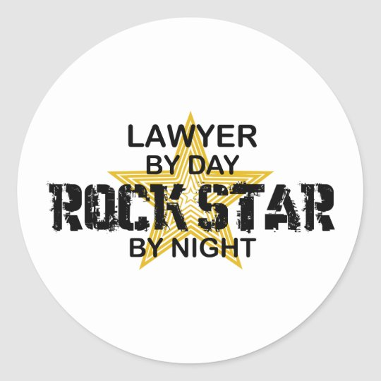 Lawyer Rock Star by Night Classic Round Sticker