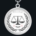 """lawyer silver plated necklace<br><div class=""""desc"""">Unique attorney design featuring scales held by Lady Justice. Edit text to add name.</div>"""