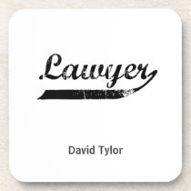 Lawyer typography drink coaster