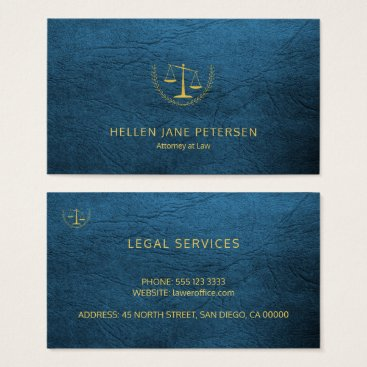 Lawyer Themed Lawyer upscale elegant gold blue leather look business card