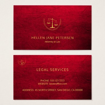 Lawyer Themed Lawyer upscale elegant gold ruby red leather look business card