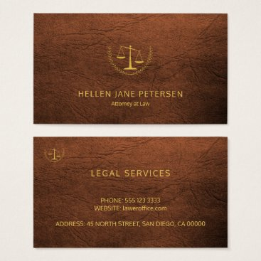 Lawyer Themed Lawyer upscale gold rusty brown leather look business card