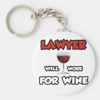 Lawyer ... Will Work For Wine Basic Round Button Keychain