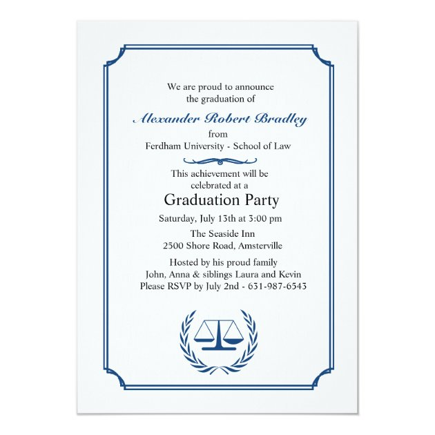 Lawyers Corner Graduation Invitation