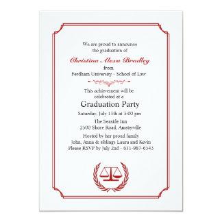 Lawyers Corner Red Graduation Invitation