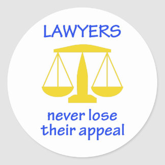 Lawyers Never Lose Their Classic Round Sticker