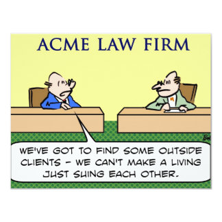 """lawyers sue suing each other 4.25"""" x 5.5"""" invitation card"""