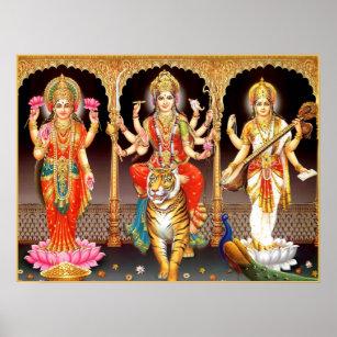 BILD picture DURGA   und Dämon Hinduismus Prägedruck INDIEN India Poster 337