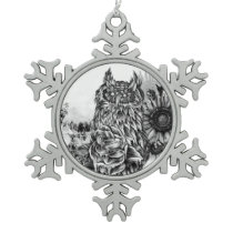 Lay of the land, floral owl snowflake pewter christmas ornament