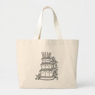 Layer Cake Line Art Design Large Tote Bag
