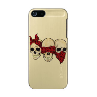"Layer for iPhone 5/5s ""Skull (deaf, blind, dumb) "" Metallic Phone Case For iPhone SE/5/5s"