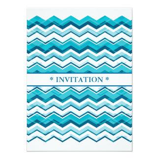 Layered Blue Chevron 5.5x7.5 Paper Invitation Card