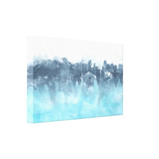 Layered Blues Abstract Painting Canvas Print